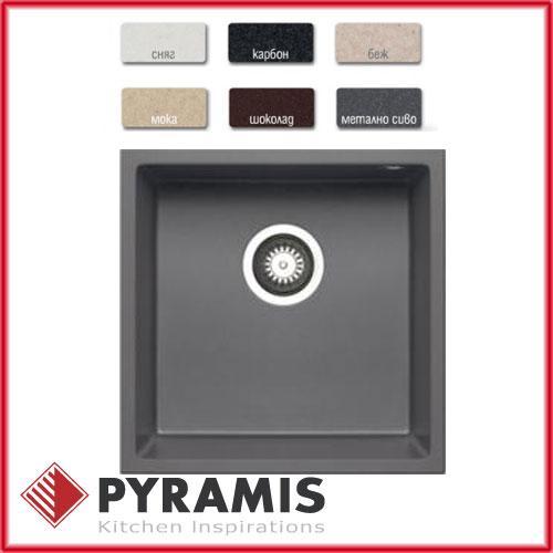 Гранитная кухонная мойка Pyramis Tetragon (40x40) 1b  iron-grey
