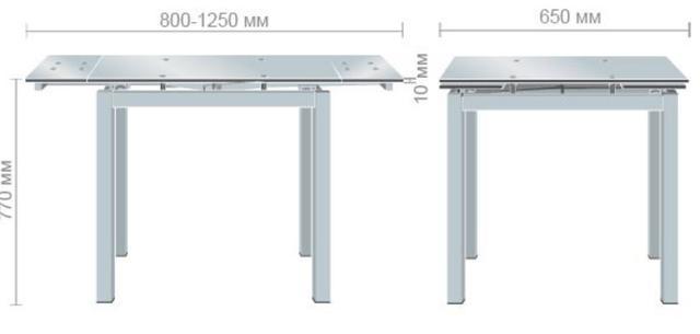 Стол Корфу 800(1250)х650х770 База белый/Стекло белый (размеры)