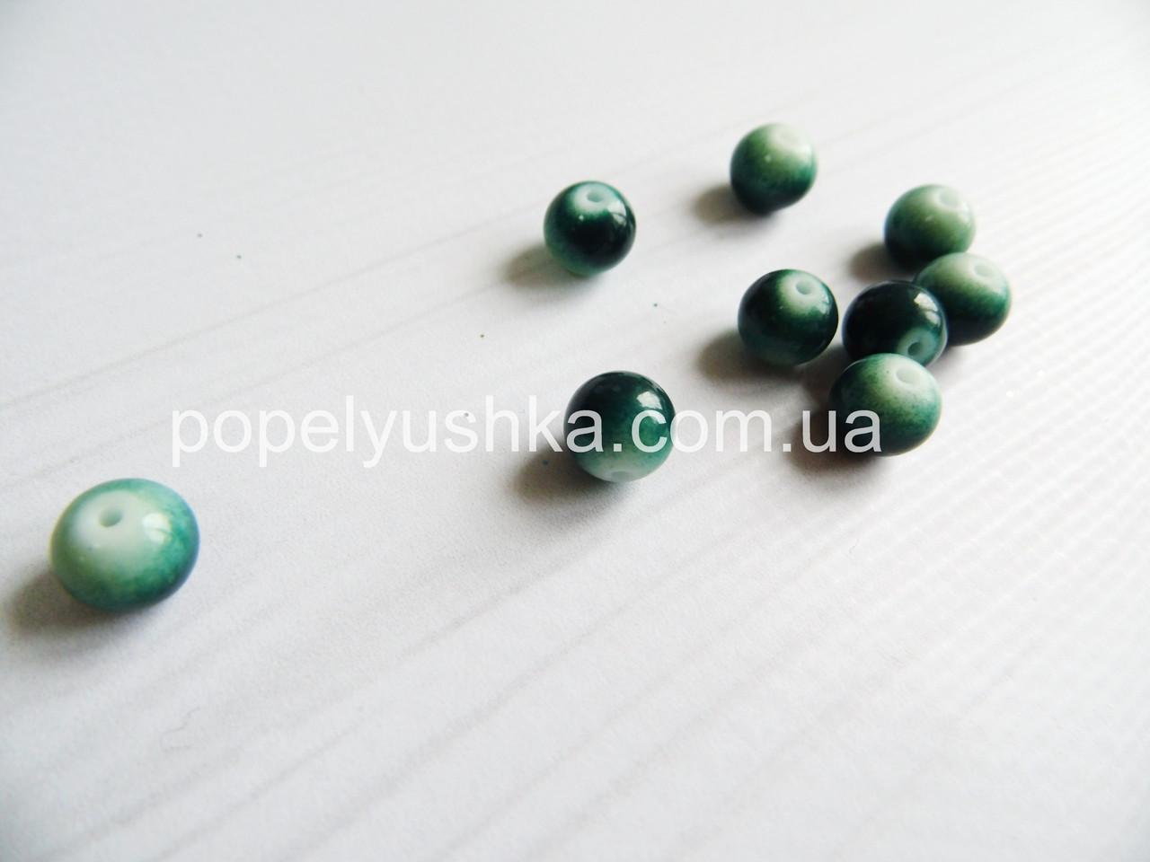 Намистини 8 мм  двоколірні (20 шт.). Темно-зелені з білим