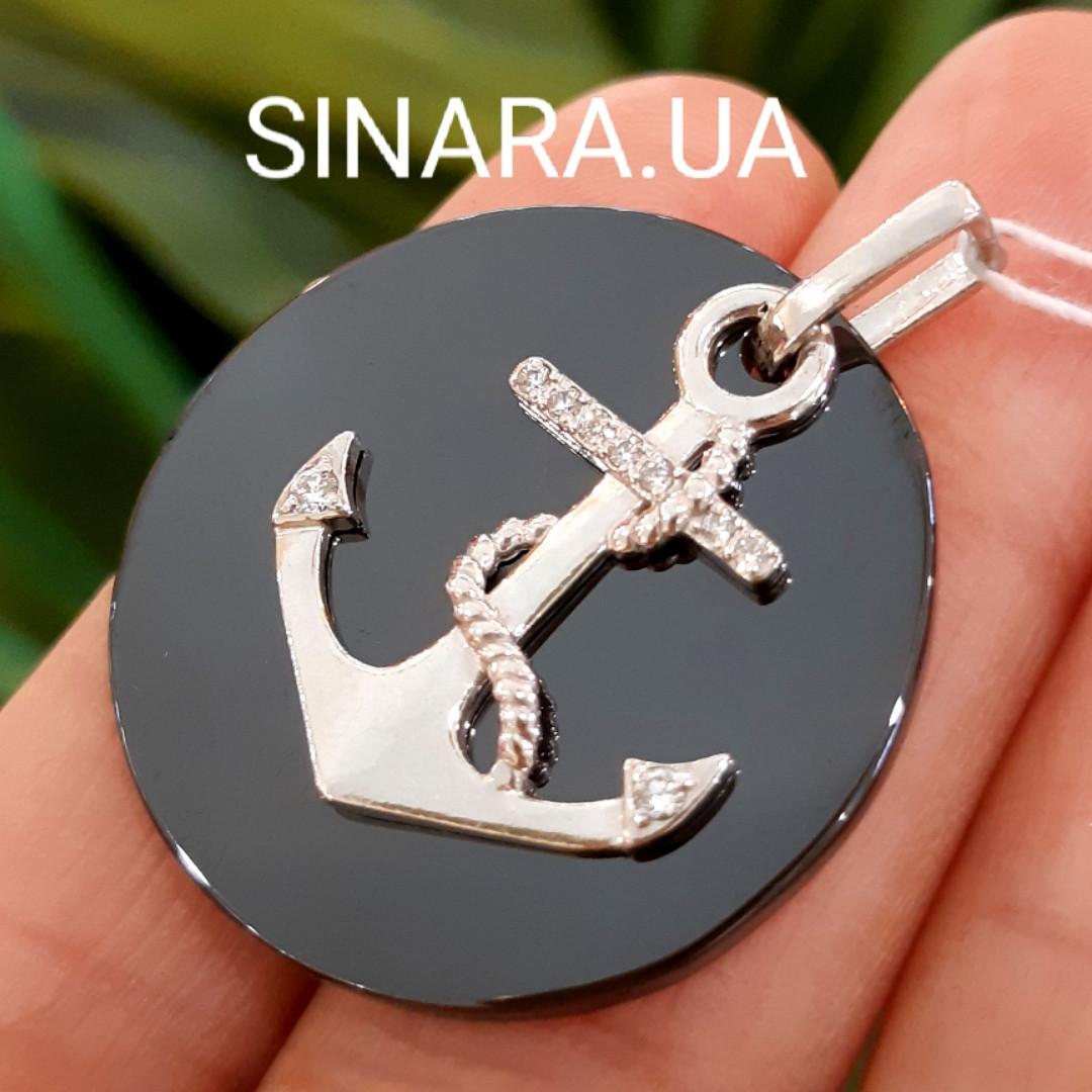 Якорь серебряная подвеска с черной керамикой - Кулон Якорь серебро и керамика