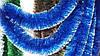 Новорічна мішура, дощик синій з сріблястим пір'ям - діаметр 15 см, довжина - 3 метри Польща