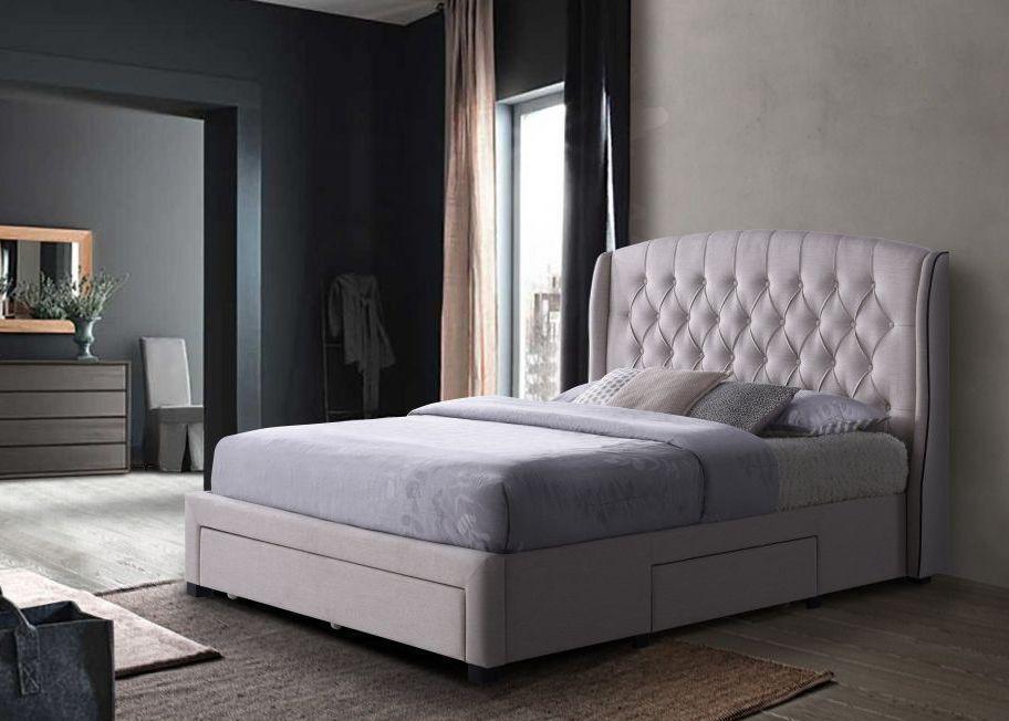 Кровать DANA (Дана) 160*200 с мягким изголовьем и нишами для белья