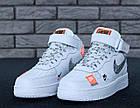 Женские высокие кроссовки Nike Air Force 1 Mid Just Do It White Найк Аир Форс белые, фото 3