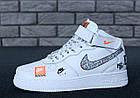Женские высокие кроссовки Nike Air Force 1 Mid Just Do It White Найк Аир Форс белые, фото 5
