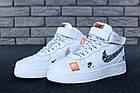 Женские высокие кроссовки Nike Air Force 1 Mid Just Do It White Найк Аир Форс белые, фото 8