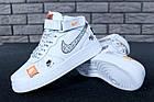 Женские высокие кроссовки Nike Air Force 1 Mid Just Do It White Найк Аир Форс белые, фото 10