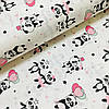 Ткань поплин панды с воздушными шариками на белом (ТУРЦИЯ шир. 2,4 м) №32-125