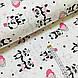 Ткань поплин панды с воздушными шариками на белом (ТУРЦИЯ шир. 2,4 м) №32-125, фото 2