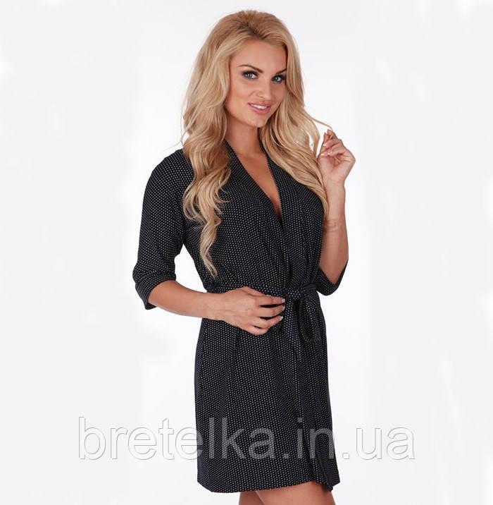 Халат женский большого размера, домашний халат, халат вискозный De lafense  темно синий
