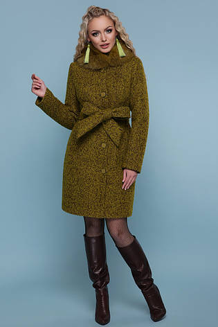06f8ab52d34 Короткое женское зимнее шерстяное пальто на пуговицах с меховым воротником  П-332 зм