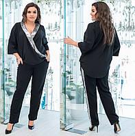 f2e465e8 Нарядный женский костюм блуза креп софт+пайетка и брюки креп костюмка  лампасы пайетка Размеры 52