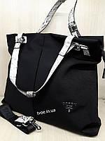 """Черная женская сумка - шопер из непромокающей ткани """"репс"""", фото 1"""