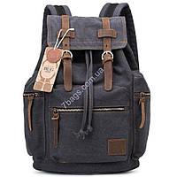 Городской рюкзак из Canvas и лошадиной кожи, черный