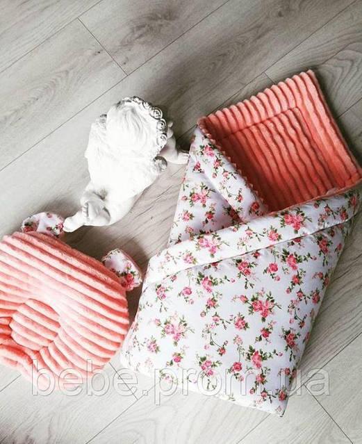 Комплект в персиковых тонах: ортопедическая подушка, зимнее одияло  16