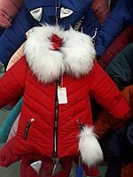 Модная зимняя детская куртка на овчине