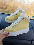 Зимние женские кеды Sweety Yellow Leather, фото 5