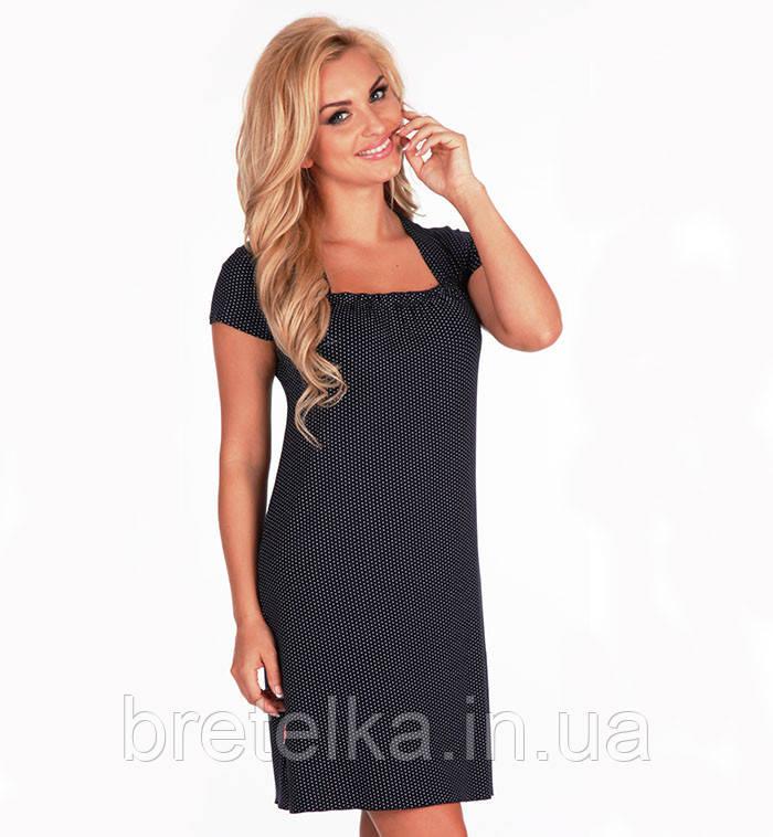 Ночная сорочка, ночнушка, ночная рубашка из вискозы De Lafense  темно синий