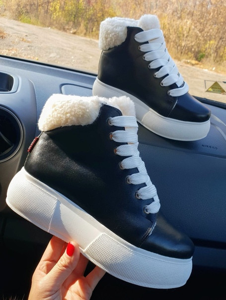 Зимние женские кеды Sweety Black Leather (белая подошва)