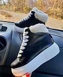 Зимние женские кеды Sweety Black Leather (белая подошва), фото 2