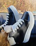 Зимние женские кеды Sweety Black Leather (белая подошва), фото 3