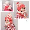 Детский набор шапка+снуд+варежки Персик