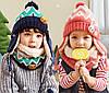 Детский набор шапка+снуд+варежки Персик, фото 5