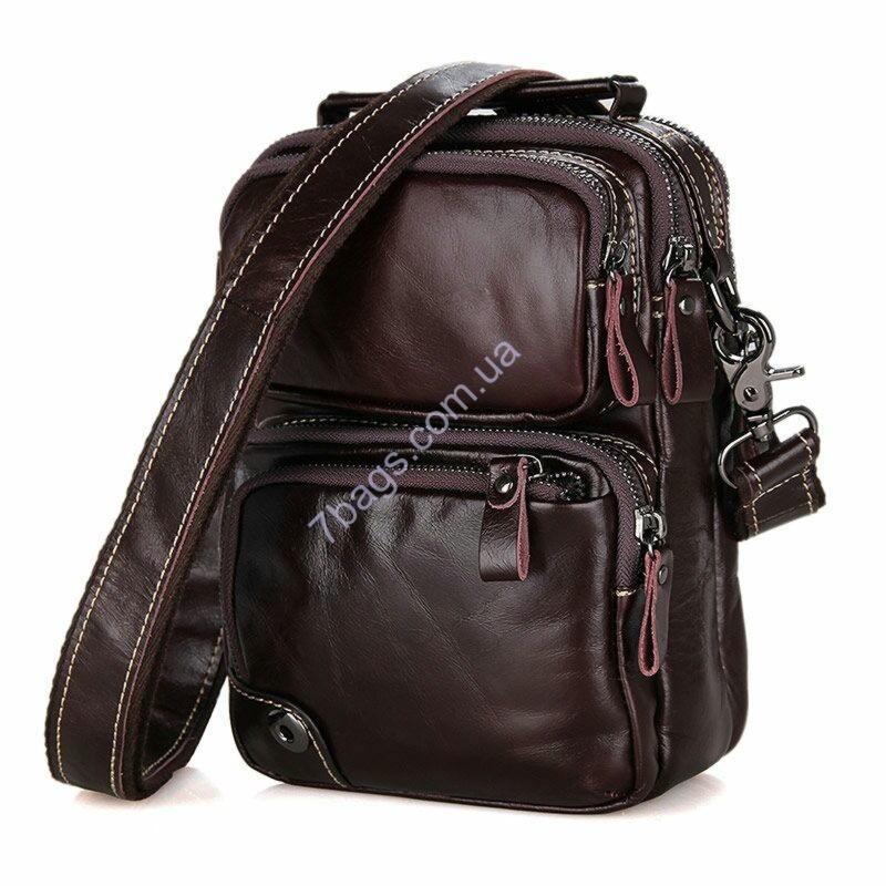 7db37d9ac0f7 Мужская кожаная сумка на плечо, коричневая John McDee 1010С - Тибериус —  магазин стильных аксессуаров