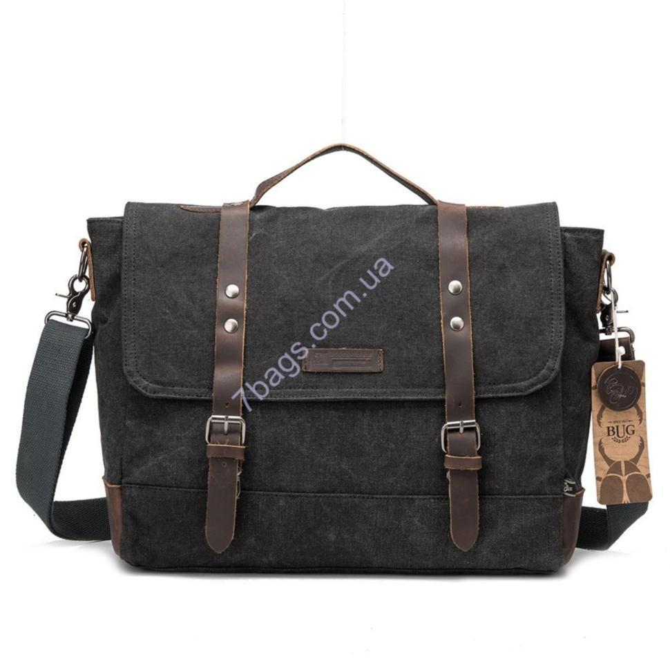 10397856f682 Мужская сумка через плечо, портфель из Canvas (BUG), черная - Тибериус —