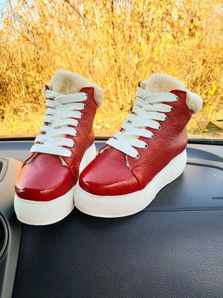 Зимние женские кеды Sweety Red Leather