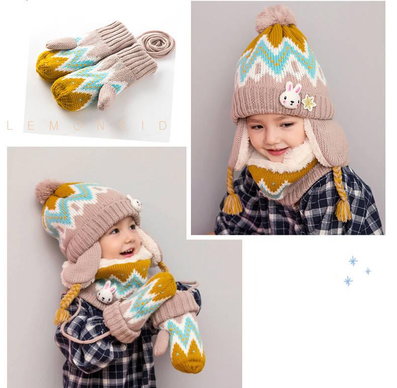 Детский набор шапка+снуд+варежки Желтый