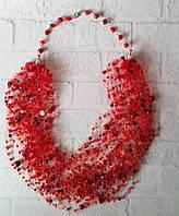 Колье красное в подарок  для женщин и девушек на шею воздушное   , фото 1