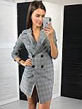 Женское стильное платье-пиджак в клетку с крупными пуговицами, фото 3