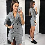 Женское стильное платье-пиджак в клетку с крупными пуговицами, фото 5