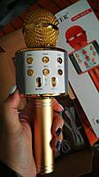 Караоке микрофон с колонкой в коробке 858  Золотой