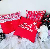 Декоративная новогодняя подушка ткань бязь в елочки, фото 1