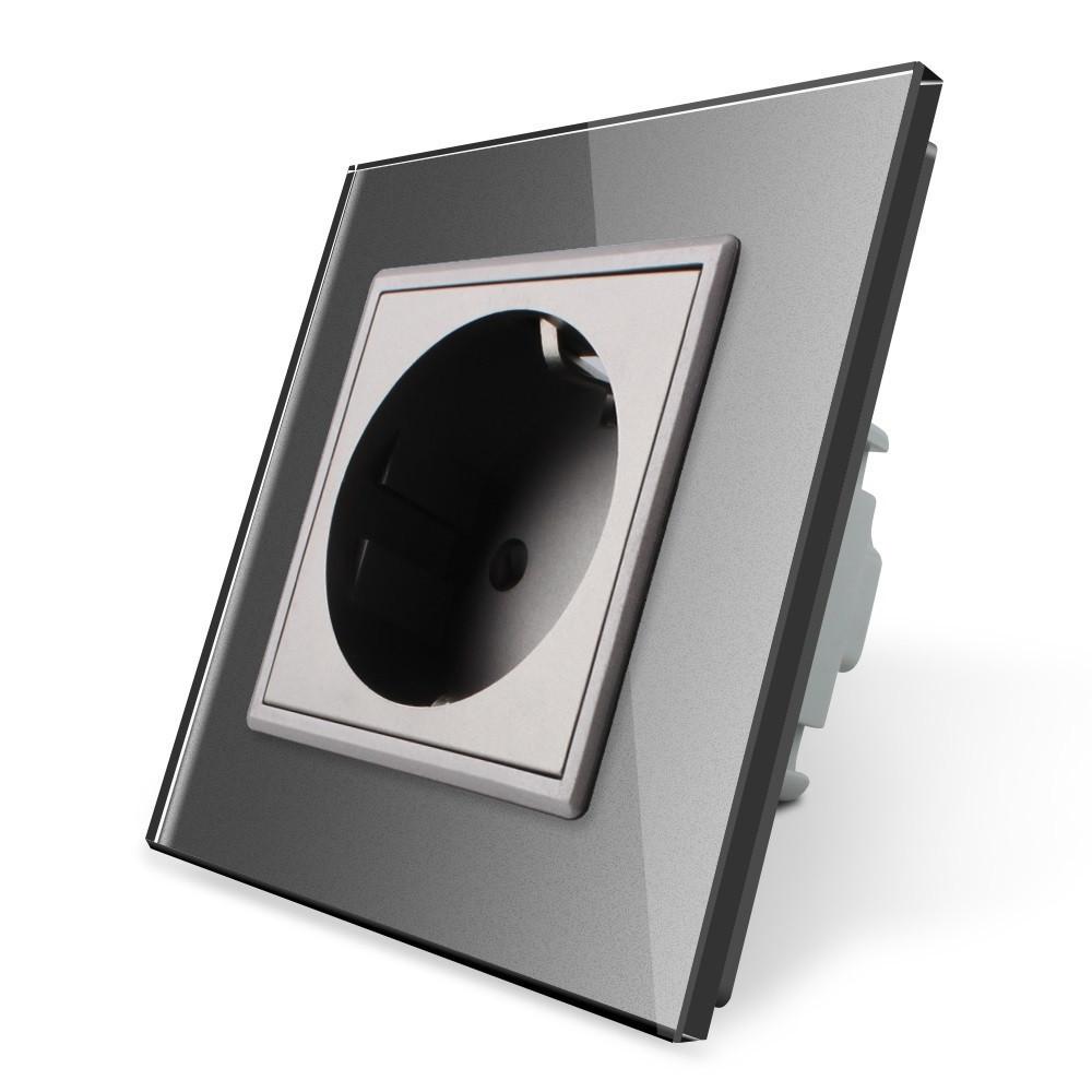 Розетка с заземлением Livolo 16А с заземлением со шторками рамка стекло серый (VL-C7C1EU-15)