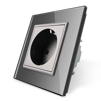 Розетка с заземлением Livolo 16А серый стекло (VL-C7C1EU-15)