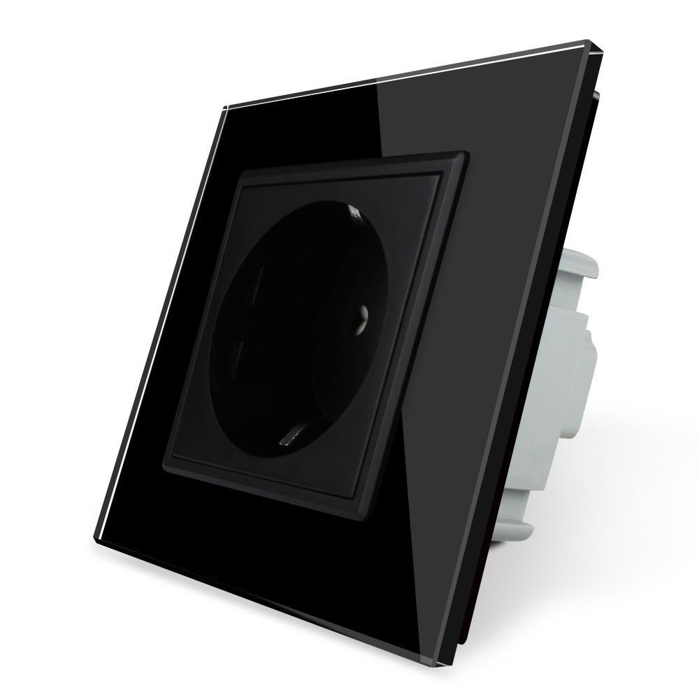 Розетка с заземлением Livolo 16А черный стекло (VL-C7C1EU-12)
