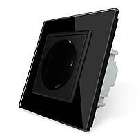 Розетка с заземлением Livolo 16А с заземлением со шторками рамка стекло черный (VL-C7C1EU-12)