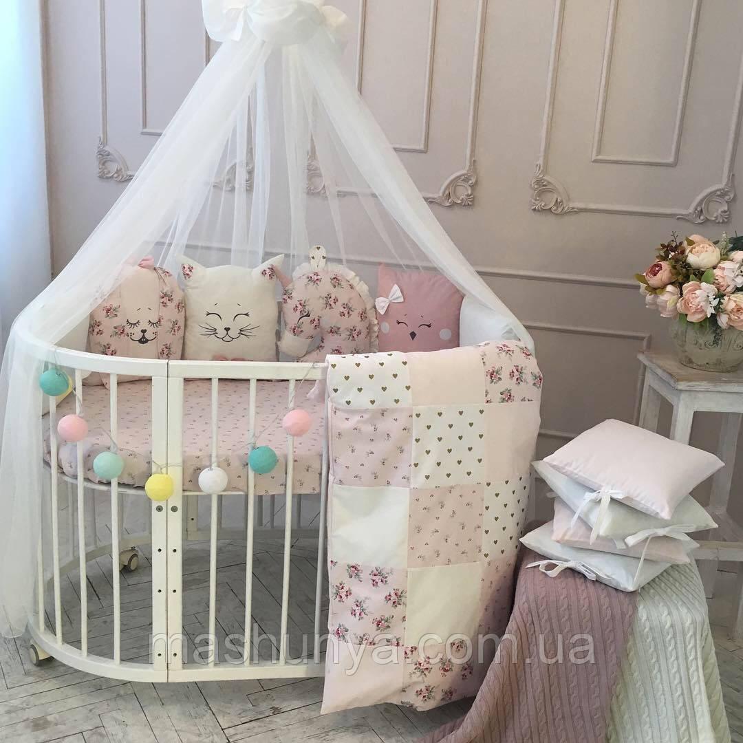 Детский постельный комплект в овальную кроватку Маленькая Соня Chudiki 6 и 7 элементов