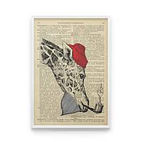 """Постер на стену """"ЖИРАФ ДАЛЯ"""" с принтом на репродукции страниц словаря Даля дореволюционного издания."""