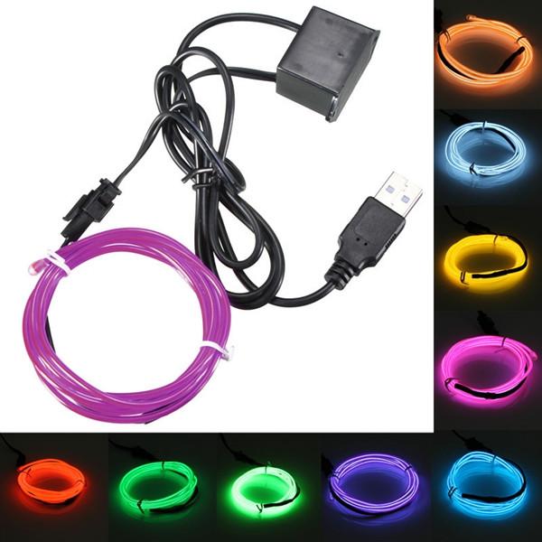 3м одного цвета 5В USB гибкий неон провода EL свет танцевальная вечеринка декор свет - 1TopShop