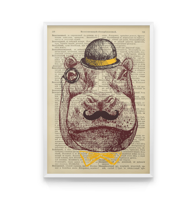 Постер на стену БЕГЕМОТ ДАЛЯ с принтом на репродукции страниц словаря Даля дореволюционного издания