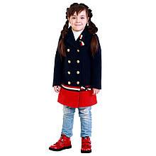 Детское демисезонное пальто для девочки 88BLUE-RED 122 см, Сине-красный