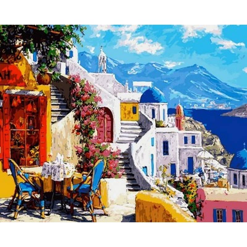 Картина по номерам Санторини. Уютное кафе VP1032 Babylon Turbo 40 х 50 см