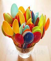 Ложки одноразовые стекловидные столовые (10 шт)- Разноцветные