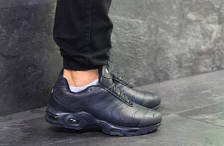Мужские зимние кроссовки Nike Air Max TN ( пресс кожа) темно синие, фото 2