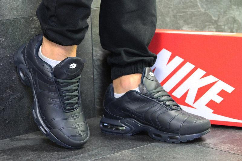 Мужские зимние кроссовки Nike Air Max TN ( пресс кожа) темно синие