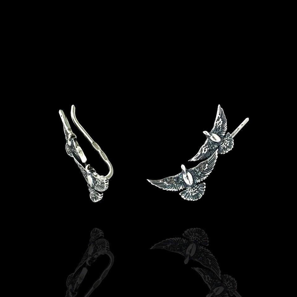 Срібні сережки-кафи Птиці