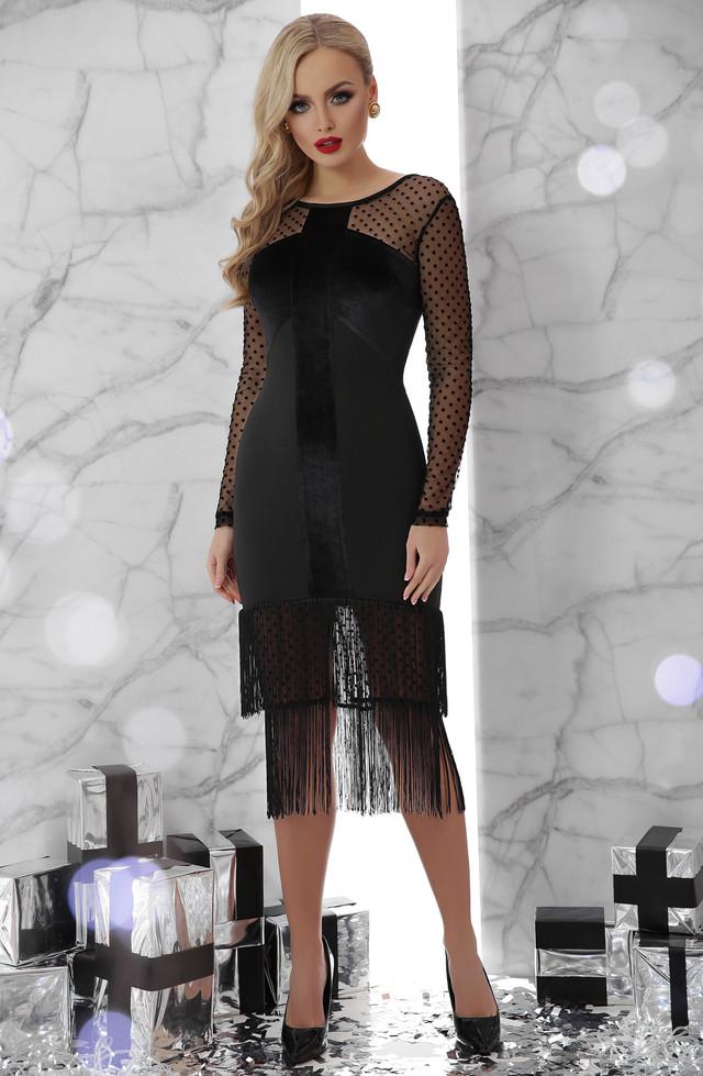 Женское нарядное платье с бахамой, размеры от 44 до 48, чёрное, облегающее, вечернее, коктейльное